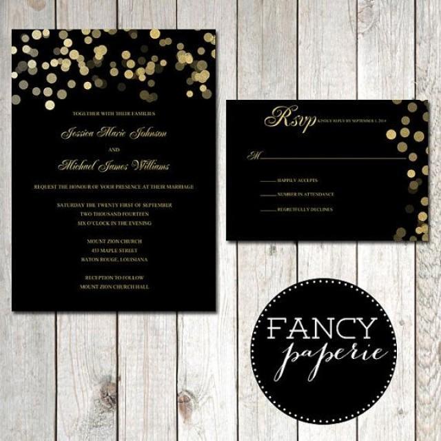 Black And Gold Glitter Invitations