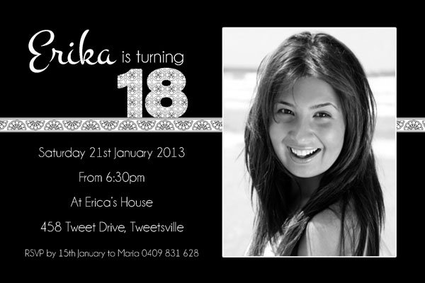 Black And White 18th Birthday Invitations For Girls