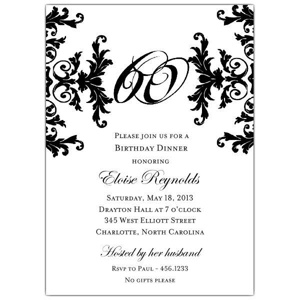 Black And White Birthday Invitation Blank Cards