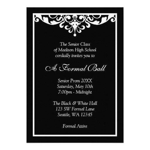 Black And White Gala Invitations