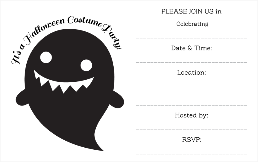 And White Halloween Party Invitation