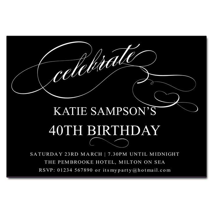 Black And White Invitations Birthday