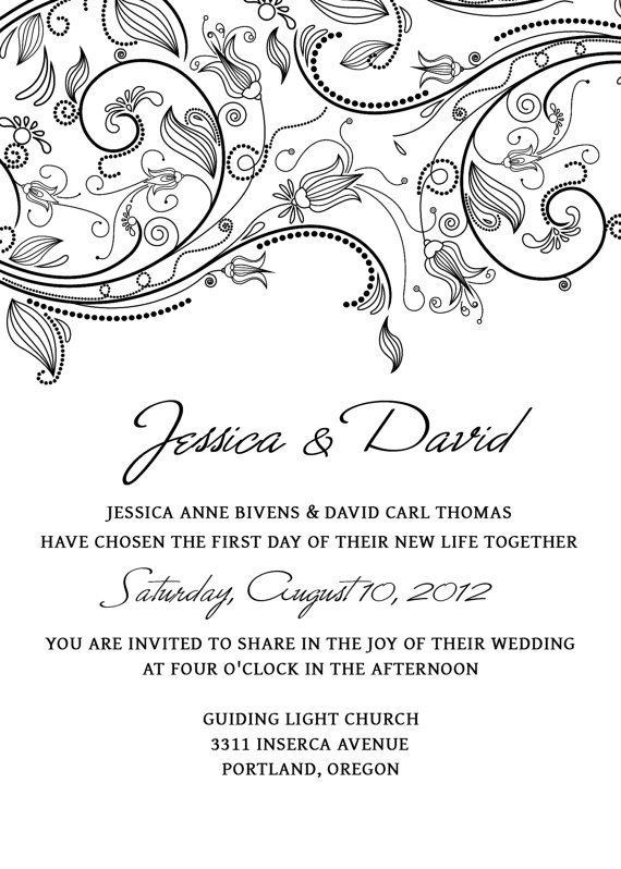 Black And White Invitations Templates