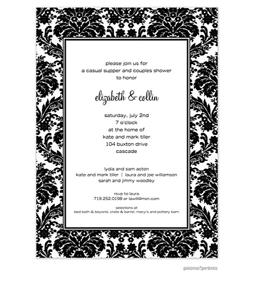 Black And White Party Invitation Wording
