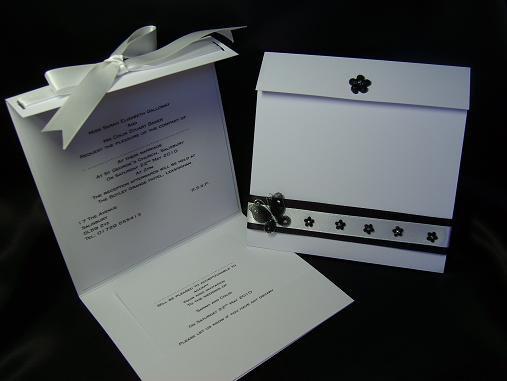 Black And White Pocket Wedding Invitations Uk