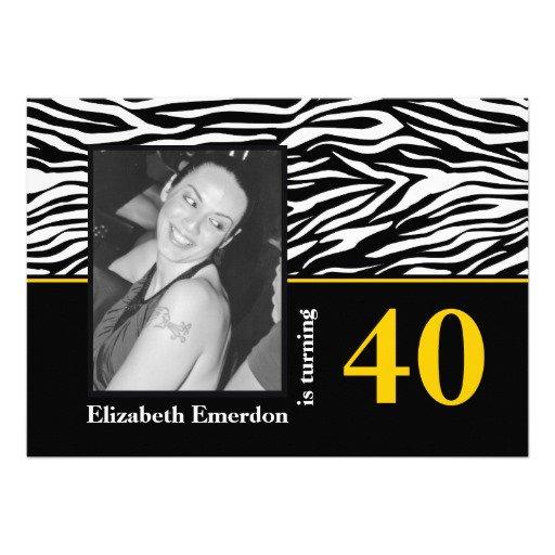 Black And White Zebra Print Birthday Invitations
