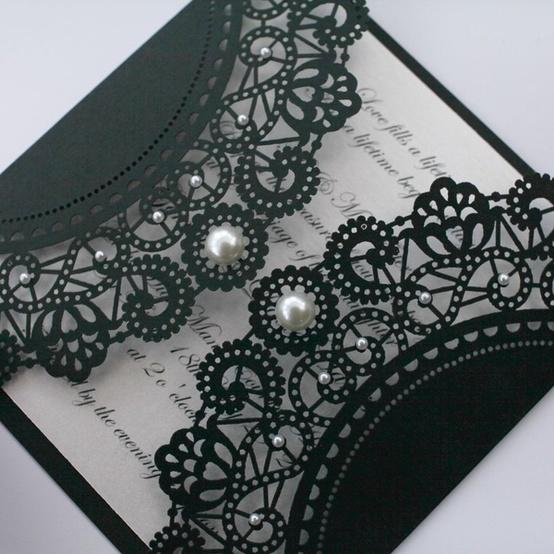 Black Vintage Lace Wedding Invitations