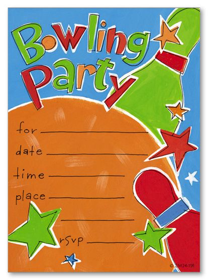 Blank Bowling Birthday Party Invitations