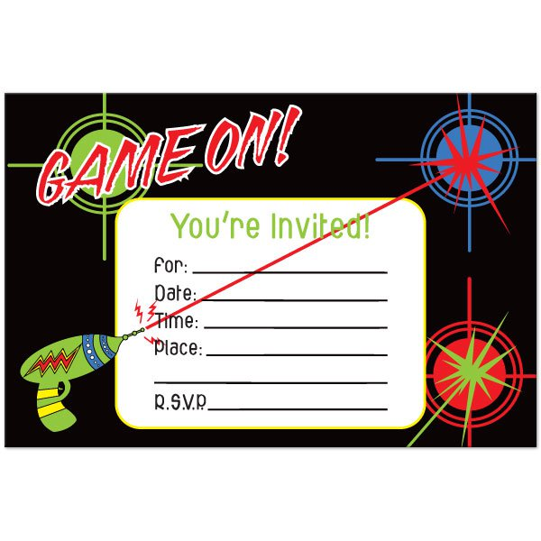 Blank Laser Tag Invitations