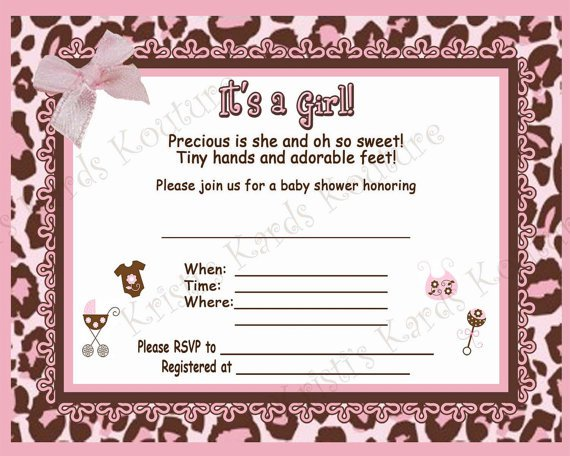 Blank Princess Baby Shower Invitations