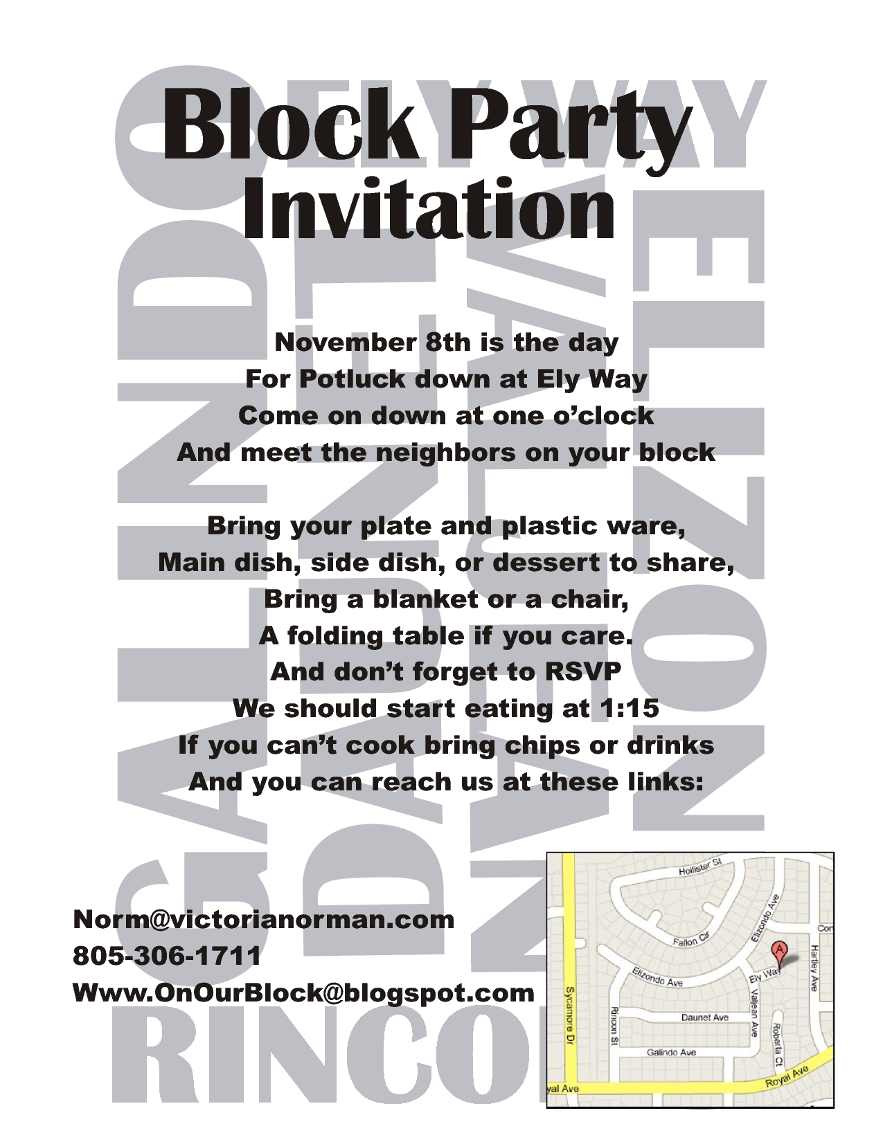 Block Party Invitation Samples