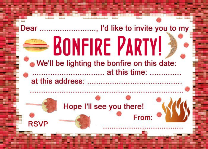 Bonfire Invitation Templates