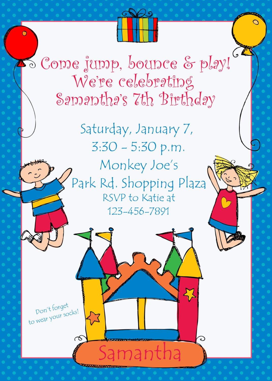 Bounce House Birthday Invitation Wording