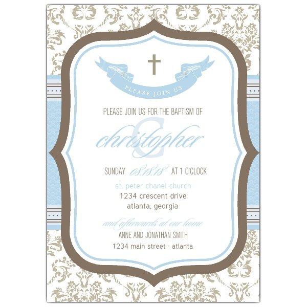 Boy Baptism Blank Invitation Templates