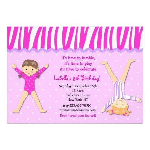 Boy Gymnastic Birthday Party Invitations