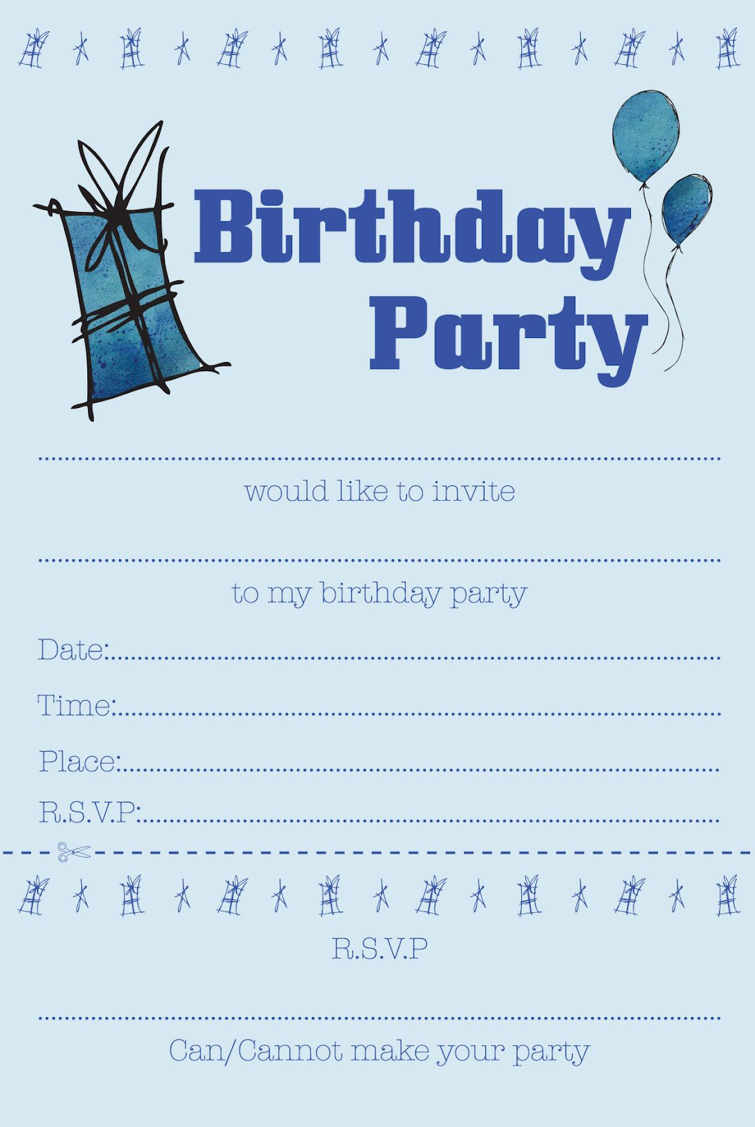 boys birthday party invitations free printable