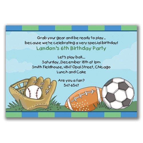 Boys Sports Birthday Invitations