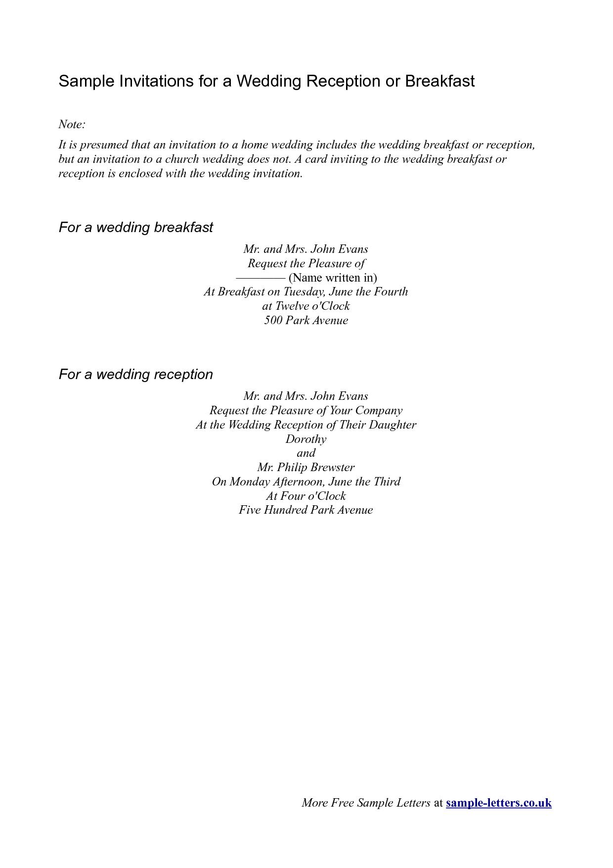 Breakfast Invitation Wording Sample
