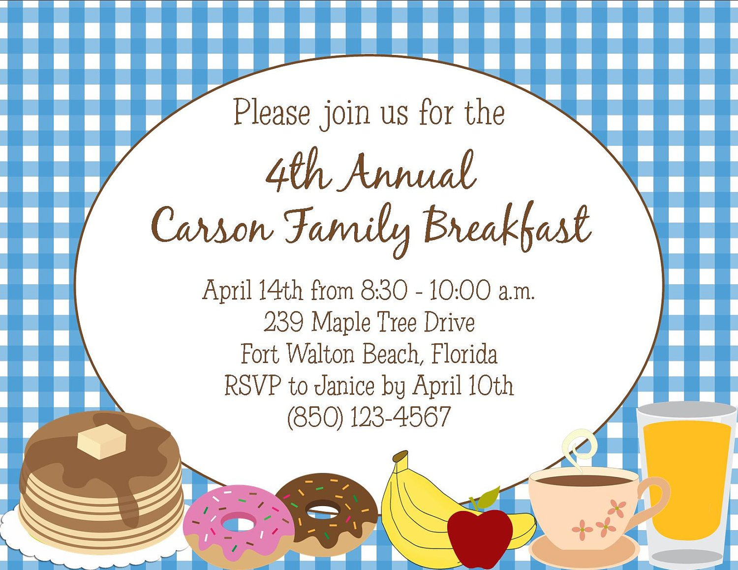 Breakfast Invitation Wording Sample