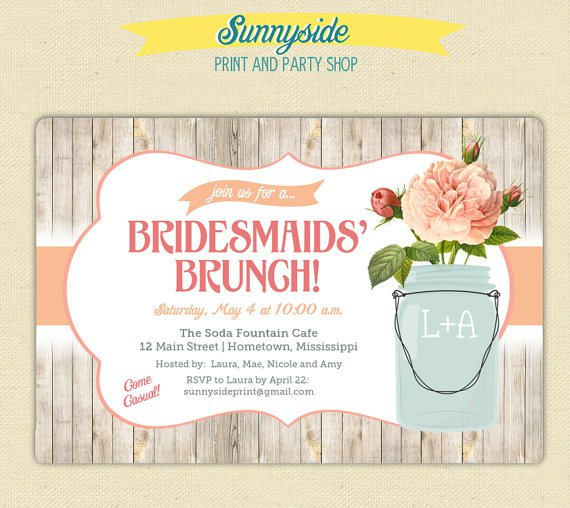 Bridal brunch invitation templates for Wedding brunch invitations