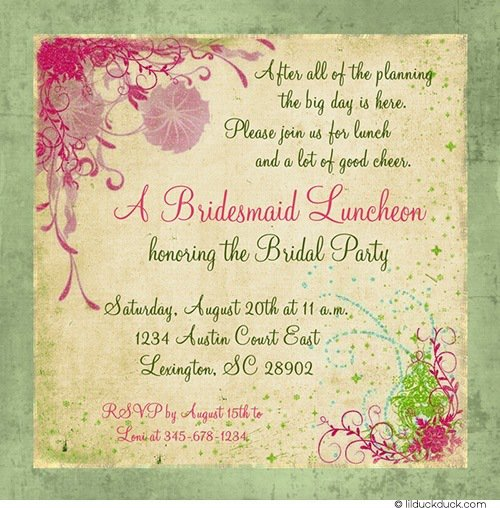 Bridal Party Luncheon Invitations