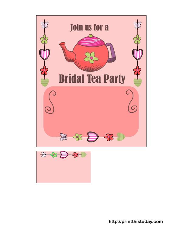 Bridal Tea Party Invitations Free