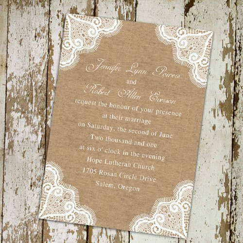 Burlap And Lace Wedding Invitations Cheap