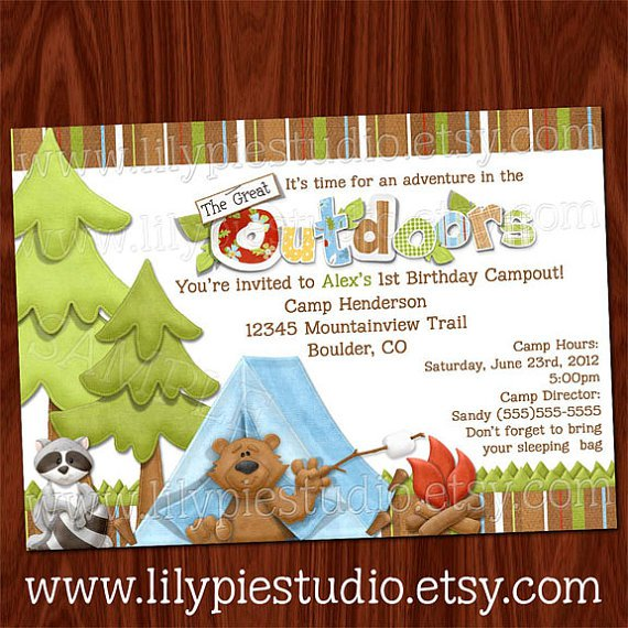 camping birthday party invitations, party invitations