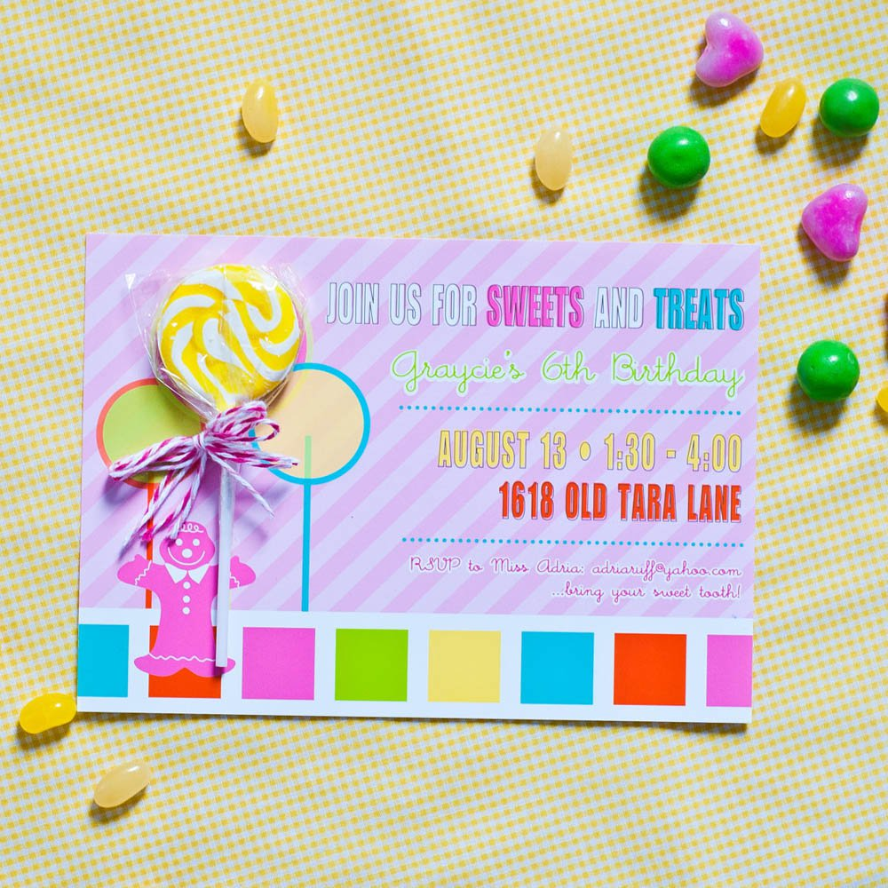 Candy Invitations Birthday Party