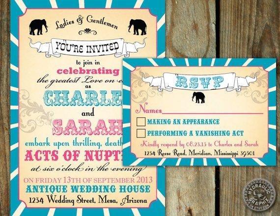 Carnival Printable Wedding Invitation