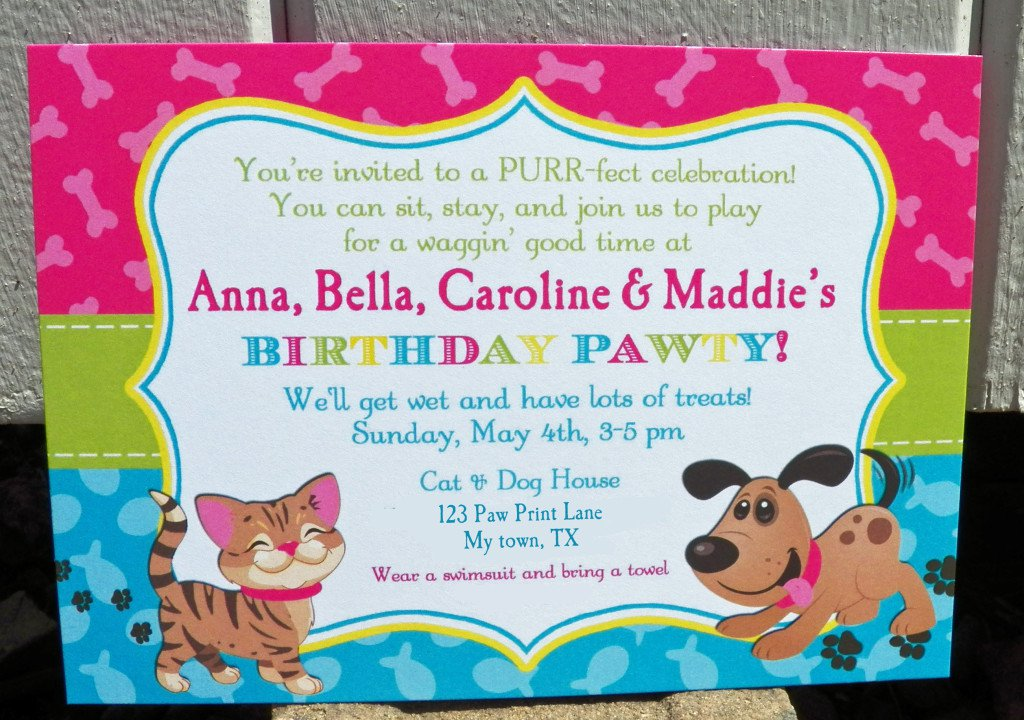 Cat Birthday Invitations Printables