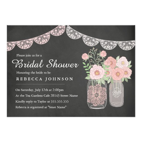 Chalkboard Style Bridal Shower Invitations