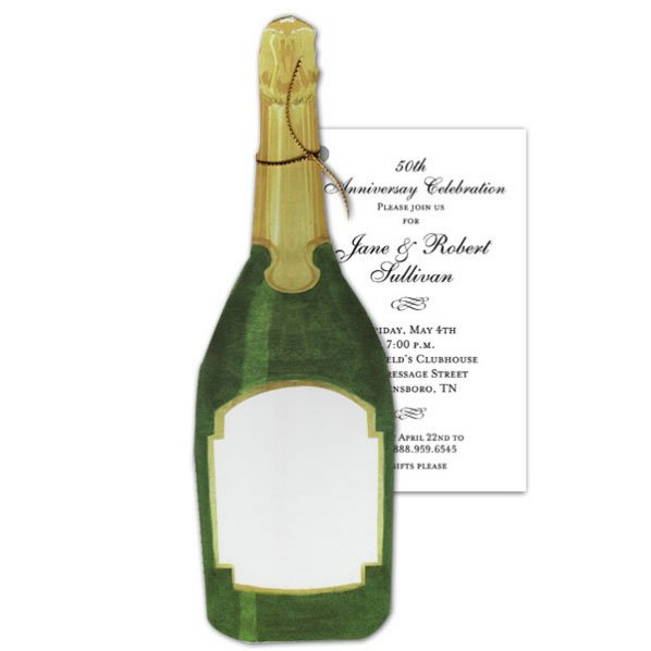 Champagne Bottle Invitations Cards