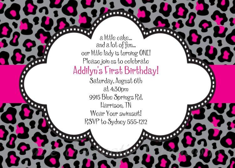 Cheetah Print Birthday Invitations Free