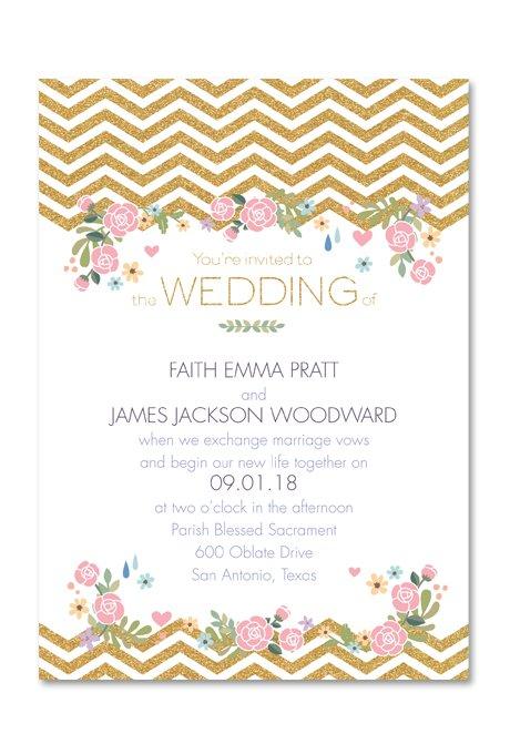 Chevron Pattern Wedding Invitations