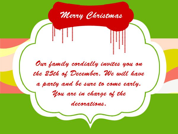 Christmas Drop In Party Invitation Wording