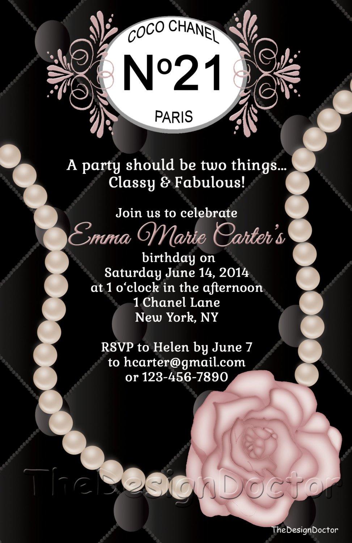 Coco Chanel Invitation Templates