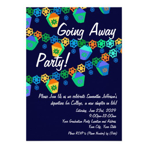 College Going Away Party Invitations