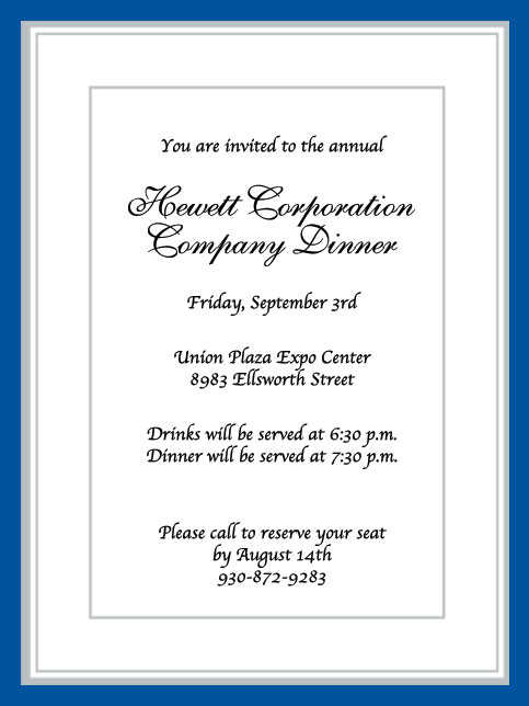 Company Dinner Party Invitation Wording