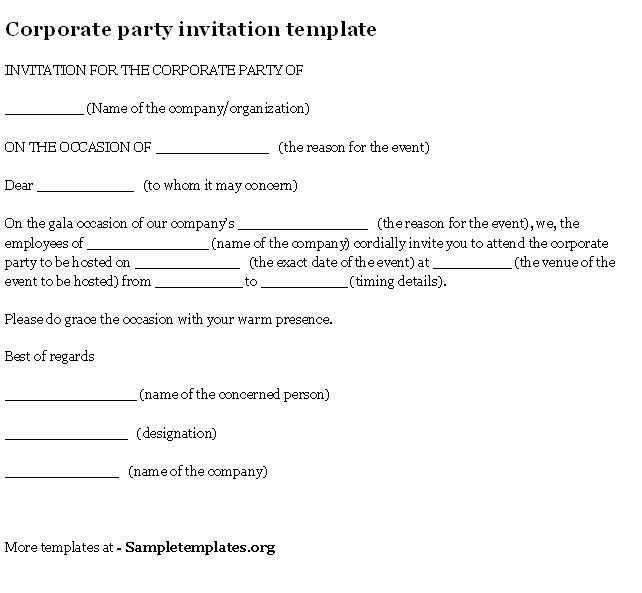 Corporate Party Invitation Templates – Office Party Invitation Sample