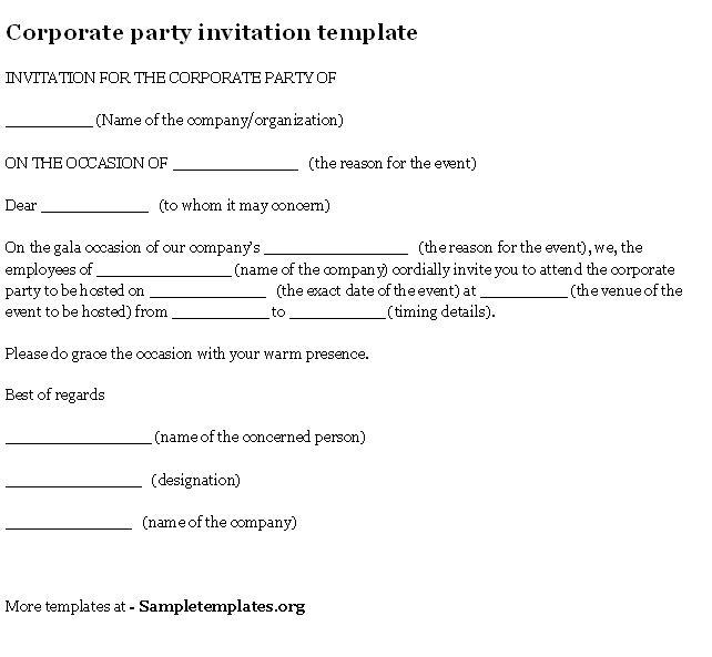 Company Party Invitation Templates