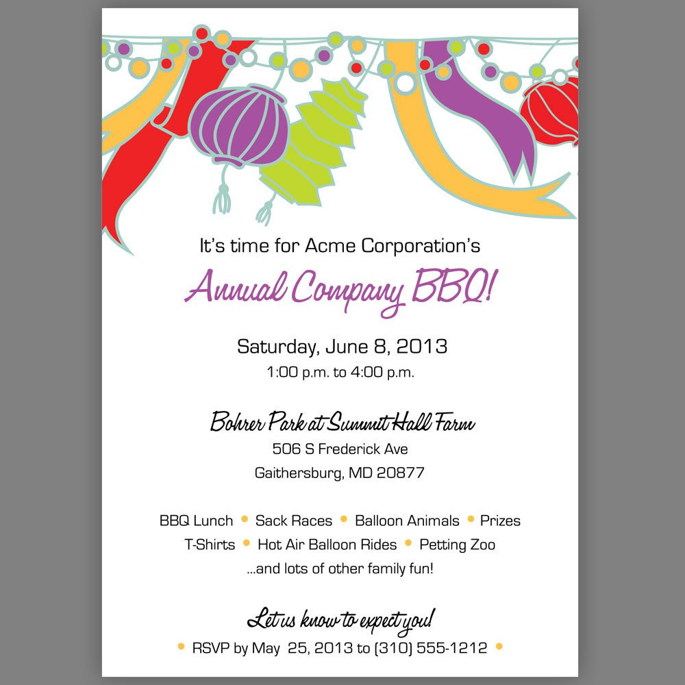Company Picnic Invitation Wording