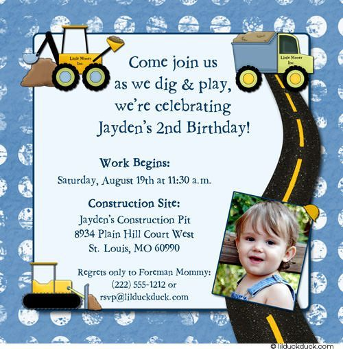 Construction Boy Birthday Invitations