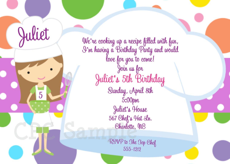 Cooking Birthday Invitations
