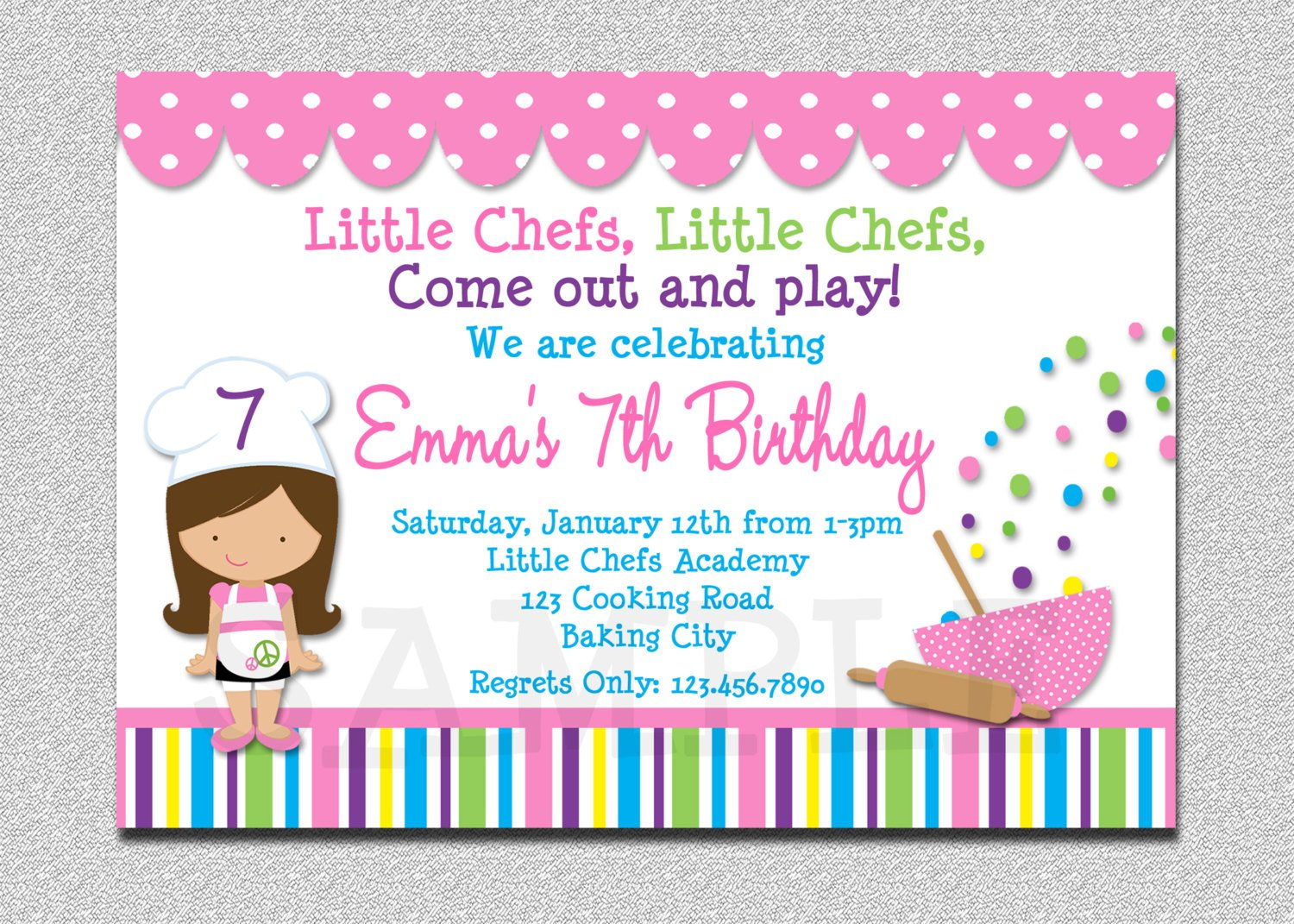 Cooking Birthday Party Invitations Free