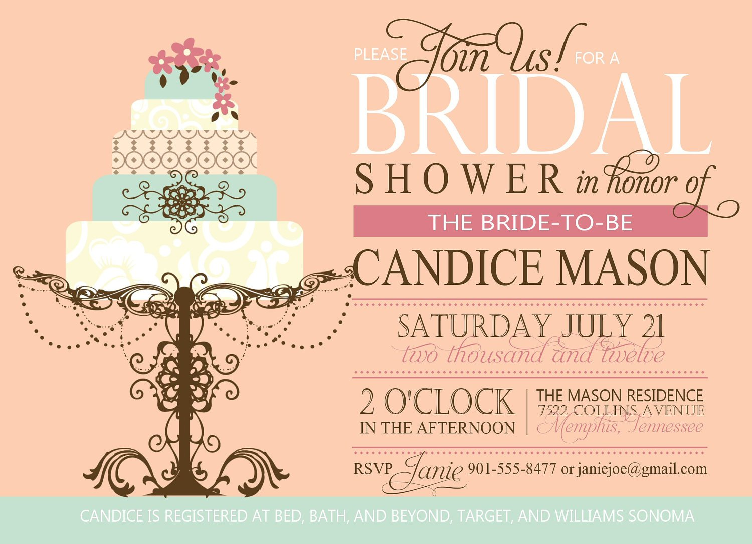 Couples Bridal Shower Invitations Templates