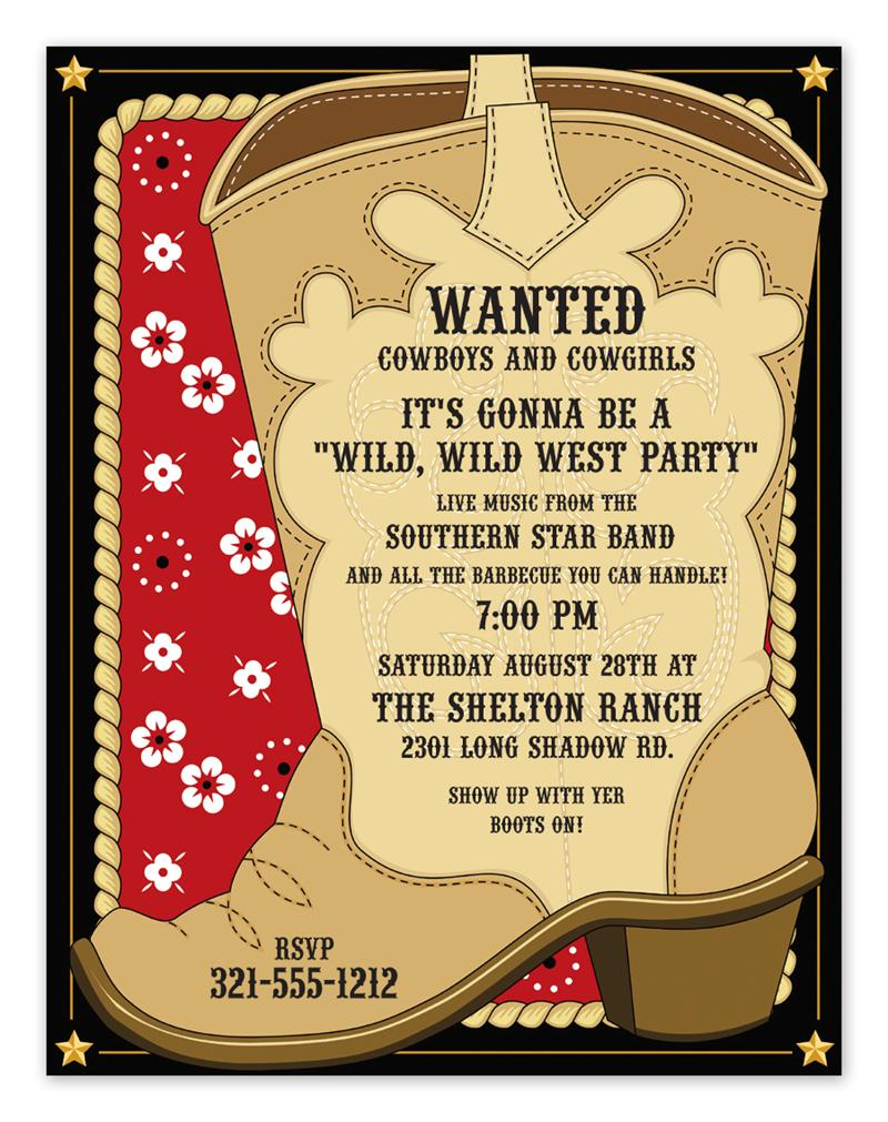 Cowboy Boot Invitations