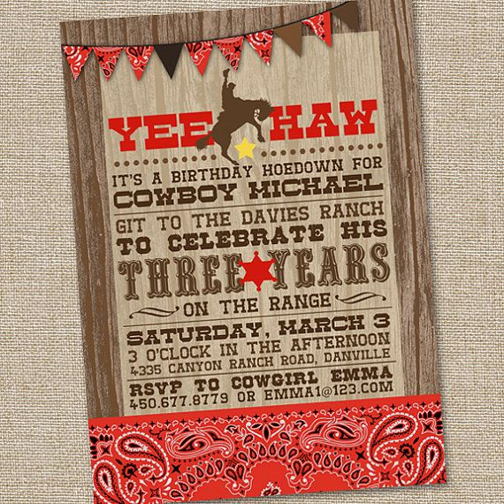Cowboy Boot Party Invitation Templates