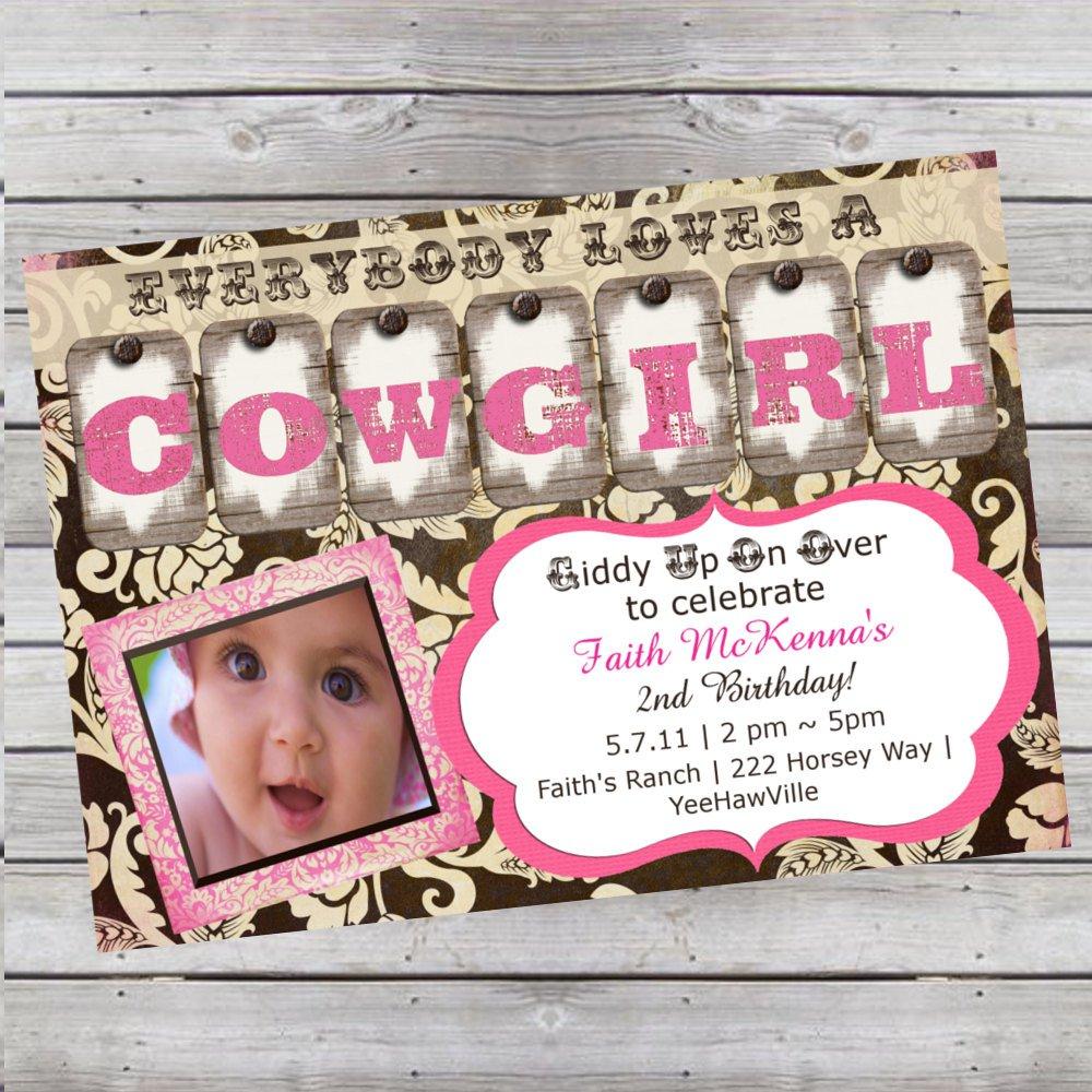 Cowgirl 1st Birthday Invitation