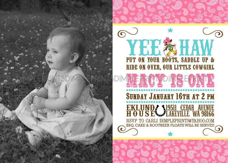 Cowgirl 1st Birthday Invitations